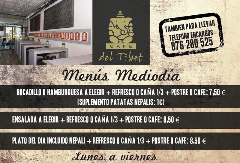 Café del Tíbet. Zurita 4, Zaragoza. Nuestros menús de mediodía.